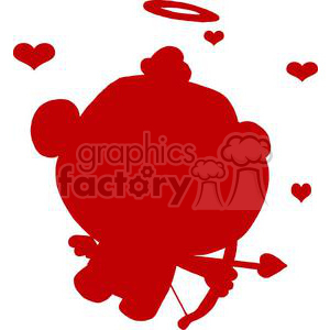A Silhouette of a Cute Cupid with Bow and Arrow Flying With Hearts clipart. Royalty-free image # 378598
