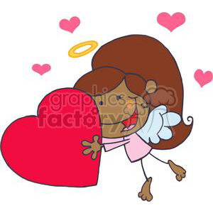 African American Cupid Girl In A Pink Dress Flying With Heart