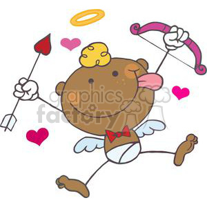 African American Cupid with Bow and Arrow With Hearts clipart. Royalty-free image # 378613
