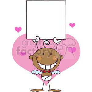 African American Stick Cupid with A Blank Banner clipart. Commercial use image # 378618