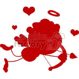 Stick Silhouette Cupid with Bow and Arrow Flying With Hearts clipart. Royalty-free image # 378623