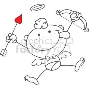 Stick Cupid with Bow and Arrow Flying  clipart. Royalty-free image # 378628
