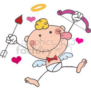 cartoon stick cupid with bow and arrow flying with hearts