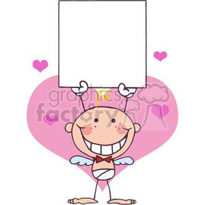 Cartoon Stick Cupid with Banner and Pink Hearts clipart. Royalty-free image # 378638