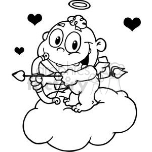 cute cupid with bow and arrow flying with hearts on a cloud in black and white
