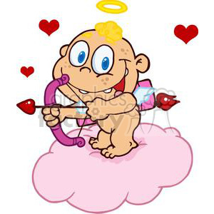 cute bare bottom cupid with bow and arrow floating with hearts