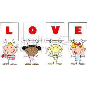Different Nationalities Stick Cupids Grouped with Banners That Spells Love clipart. Royalty-free image # 378658