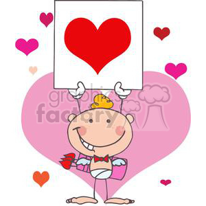 Blond Haired Baby Boy Cupid holding Up A Heart Card clipart. Royalty-free image # 378663