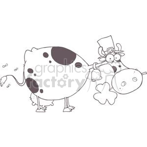 Black and White Cow with Shamrocks in Mouth and Hat clipart. Commercial use image # 378870