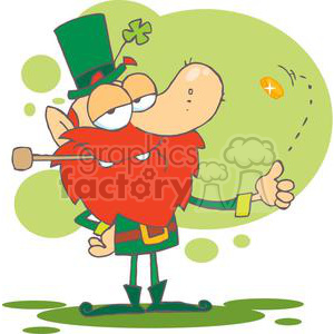 Lucky Leprechaun Taughting You with a Gold Coin clipart. Royalty-free image # 378885