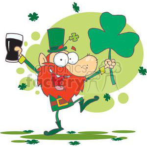 Lucky Leprechaun Dancing with a Glass of Dark Beer and Shamrock clipart. Royalty-free image # 378890