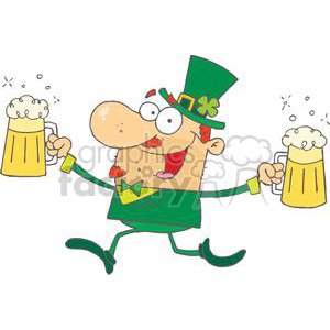 Happy Leprechaun Running With Two Pints of Beer