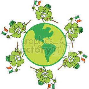 Six Happy Little Shamrocks Wearing Hats Makes A Toast with Green Beer On Globe clipart. Royalty-free image # 378900