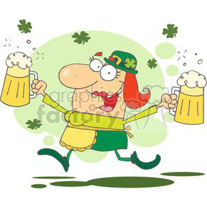 happy woman leprechaun with two pints of beer skipping