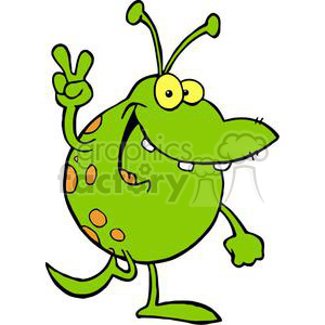 Happy Green Alien Gesturing A Peace Sign clipart. Royalty-free image # 378910