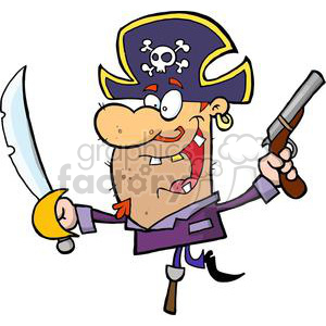 Cartoon Pirate Brandishing Sword and Gun on Peg Leg