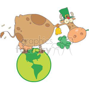 St. Patrick Cow with Shamrocks in Mouth and Hat in Globe clipart. Commercial use image # 378920