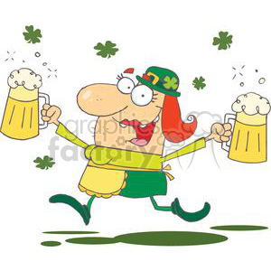 happy woman leprechaun with a pints of beer in each hand