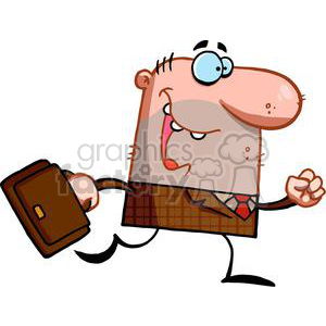 A Lucky Business man Runs With A Brown Briefcase clipart. Commercial use image # 378935