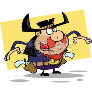 Cartoon Gun Slinger About to Draw his Guns In Front of A Yellow Background clipart. Commercial use image # 378940