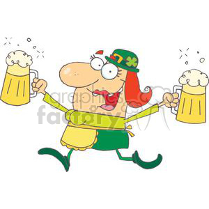 happy woman leprechaun with two pints of beer