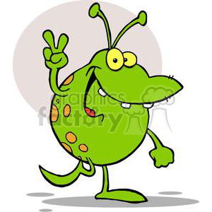 A Silly Green Alien Gesturing A Peace Sign clipart. Commercial use image # 378950