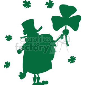 Leprechaun With Shamrock Green Silhouette clipart. Commercial use image # 378960