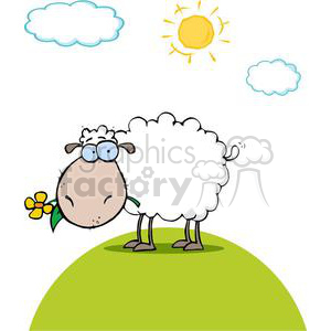 Funky Sheep With Flower In Mouth clipart. Commercial use image # 378970