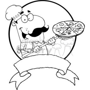 Banner of Proud Chef Inserting A Pepperoni Pizza clipart. Commercial use image # 378975