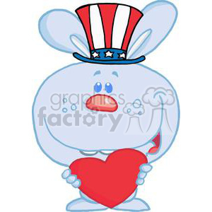 Patriotic Blue Bunny Holds Heart clipart. Royalty-free image # 378980