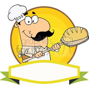 Banner Of A Bread Baker Man clipart. Royalty-free image # 379010