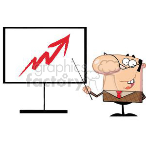 A Business Manager Pointing To An Arrow Pointing Up On A Board clipart. Royalty-free image # 379030