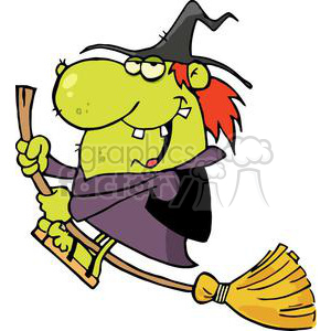 Happy Green Witch With Red Hair Rides Broom clipart. Royalty-free image # 379035
