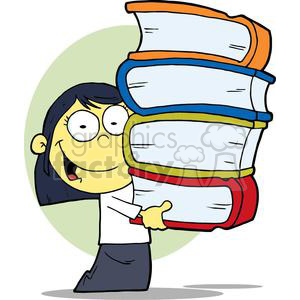 An Asian Girl Carrying Books clipart. Commercial use image # 379040