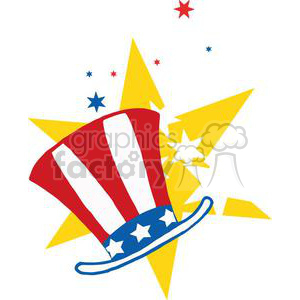 American Patriotic Hat In Front Of Stars clipart. Commercial use image # 379045