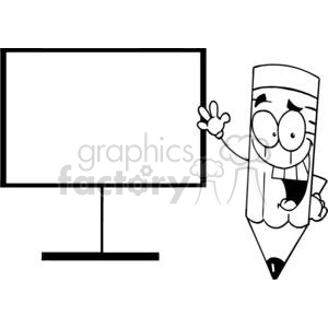 A Happy Pencil Shows His Hand On A Board clipart. Royalty-free image # 379055