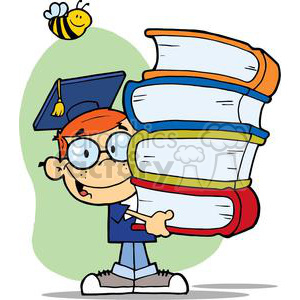 boy graduate graduation cartoon male stack books student school