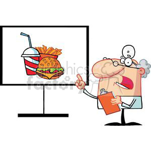 Physician Shows Board Harmful Foods clipart. Royalty-free image # 379075