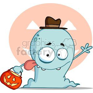 Happy Ghost Goes Trick Or Treating In Front of An Light Orange Jack O Lantern clipart. Royalty-free image # 379080