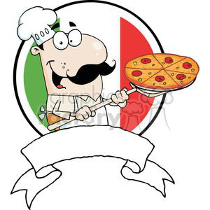 Banner Of A Proud Chef Inserting A Pepperoni And Cheese Pizza In Front Of Flag Of Italy clipart. Commercial use image # 379090