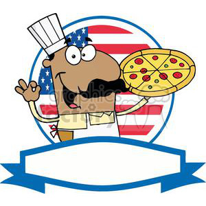 Banner Of A Pleased African American Pizza Chef With His Perfect Pie In Front Of Flag Of USA  clipart. Royalty-free image # 379095
