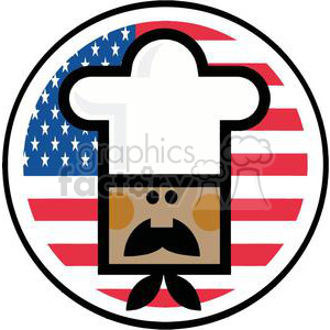 An Avatar Of African American Chef Male Face Over Of Flag Of USA clipart. Commercial use image # 379100