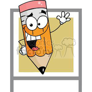 A Banner of A Waving Happy Pencil Cartoon Character clipart. Commercial use image # 379105