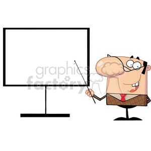 Business-Manager Using A Pointer On A Board To Demonstrate clipart. Commercial use image # 379115