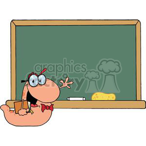 A bookworm Waving In Front Of A Chalk Board  clipart. Royalty-free image # 379120