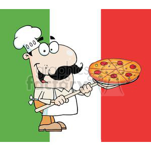 fast-food gallant chef inserting a pepperoni pizza in front of flag of italy