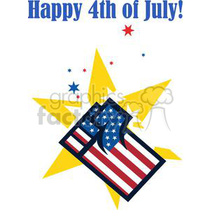 An American Patriotic Fist Over Stars clipart. Commercial use image # 379130