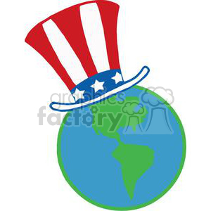 A Blue And Green Globe with American Patriotic Hat clipart. Royalty-free image # 379135