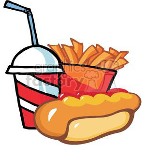Fast Food Hot Dog Drink And French Fries On A White Background