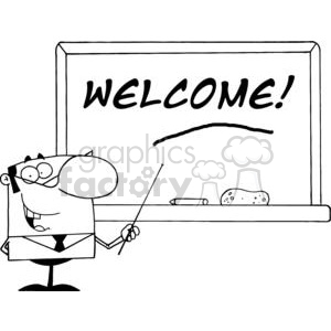 Male School Teacher Using A Pointer To Show Welcome On Chalk Board
